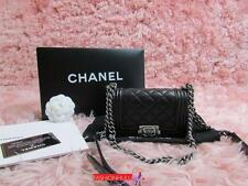 Auth CHANEL 13B Baby Mini XS LE BOY Black Lambskin Quilted Bag Ruthenium HW