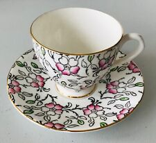 English Castle Bone China Coffee Teacup  Saucer Pink Green Grey Flowers on White