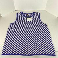 Anne Klein Womens Tank Top Blue White Stripe Sleeveless Crew Neck XL New