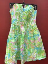 Lilly Pulitzer Dress 0 Richelle Sundress Green Floral Strapless Elephant Ears XS