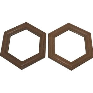 Framed Mirrors Set Of 2 Mirrors With Wood Trim Hexagon Boho Decor Oak wood Heavy