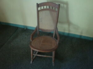 """ANTIQUE WICKER AND WOOD ROCKING CHAIR CHARMING PIECE!! 33"""" X 27"""" X 19"""""""