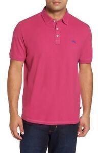 Tommy Bahama Men's Tropicool Pique Fuchsia Red Spectator Short Sleeve Polo Shirt