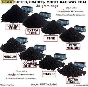 Model Railway COAL, Sifted Graded 25g Bags for Z, N, HO, OO Gauge, Scale Trains