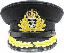 NEW ROYAL NAVY OFFICER HAT CAP CAPTAIN ( BLACK ) Size 58 R N COMMANDERS