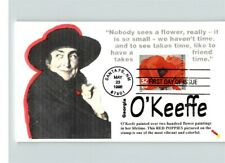 GEORGIA O'KEEFFE, Artist, Red Poppies on stamp, 1998 First day of Issue, Santa F