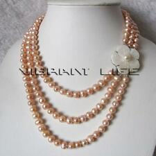 17-20 Inches 6-8mm Peach Pink 3Row Cultured Freshwater Pearl Strand Necklace