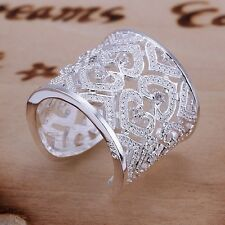 Xmas Hot Sale Silver Jewellery  Big Bling Hallow Heart Rings +Gift Box