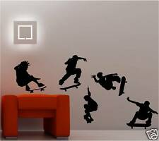 5 X Skateboarder Art mural autocollants chambre d'enfant patineuse