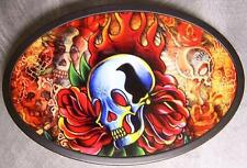 Metal TATTOO belt buckle Candles and Skulls NEW