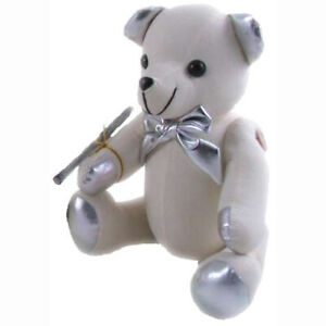 Autograph Graduation Bear Silver Plush Stuffed Soft Toy 38cm by Elka Australia