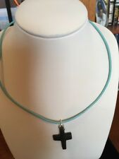 """Wooden Cross (1 1/4"""") pendant Necklace on 16 1/2"""" blue Leather Chain"""