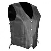 MENS MOTORCYCLE CLASSIC STYLE GENUINE LEATHER CRUISER BIKER VEST