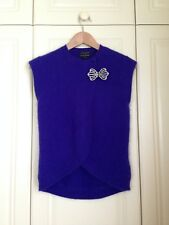 TED BAKER blue crystal bow angora sweater jumper cardigan top rockabilly 1 8 XS