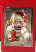 Christopher Radko Snowman Sparkle Bright Christmas Stocking Ornament Metal Tag