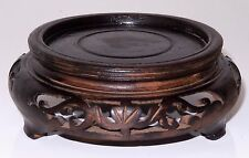 Antique Chinese Carved Hard Wood Stand Display Signed INTRICATE Footed
