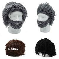 Funny Men Knitted Beard Beanie Wig Crochet Mustache Face Hat Winter Warm Cap