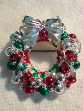 """Vtg Signed Best Silver Plate Christmas Ornament Wreath Brooch Pin """"C"""" Clasp. J1"""