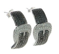 Solid 925 Sterling Silver Black & White Diamond Accent Buckle Earrings '
