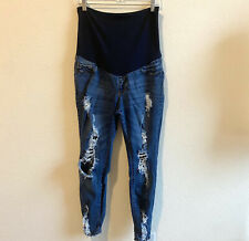 Song Maternity Fashion Pants Size XL Stretch Denim Blue Color Distressed