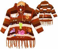 Pullover-Kleid braun Gr. 92*98, XXL-Zipfelkapuze Tiere Fransen Peru Sonne Kaktus