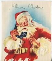 VINTAGE CHRISTMAS  SANTA CLAUS SUIT HAT OLD BLACK TELEPHONE  GREETING ART CARD