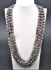 Natural 8/10mm Ruby Emerald Round Gemstone Beads Long Necklace 18-100'' AAA