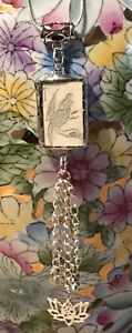 Recycled Game Tile Jewelry, Antique Bone Mah Jongg Bird Pendant Necklace w/Charm