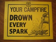 """Vintage US Forest Service Forest Fires """"Your Campfire, Drown Every Spark Poster"""""""