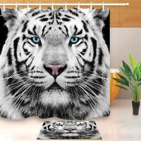 White Siberian Tiger Face Shower Curtain Bathroom Liner Mat Waterproof Fabric
