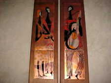"33"" RARE PAIR JUDITH DANER ENAMEL COPPER ART PAINTINGS MODERN MIDCENTURY PLAQUES"
