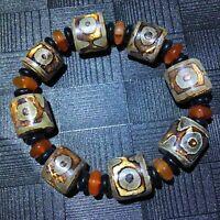 3Eyes Magic Tibetan Agate Lucky Old Dzi Beads Bracelet 15*16mm 1pcs