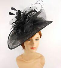 New Church Derby Wedding Pleated Fascinator Hat Headband 2450 Black