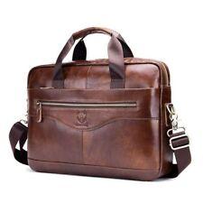 Genuine Cow Leather Briefcase Business Laptop Bag Handbag Shoulder Crossbody Bag