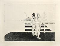 Matthias Koeppel: Mann und Frau auf der Straße [1970]. Sign. Original-Radierung.