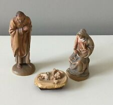 "Anri Kuolt 3"" Vintage Nativity Holy Family ( Joseph, Mary, Jesus ) Woodcarvings"
