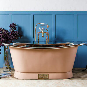 Witt & Berg Copper Bateau Bathtub - Pastel Pink Exterior / Nickel Interior