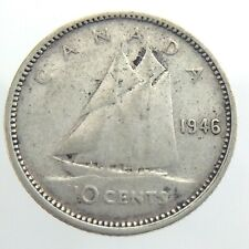 1946 Canada 10 Cent Silver Dime KM 34 Circulated Canadian George VI Coin T553