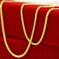 """New Pure Au750 18K Yellow Gold Necklace Perfect Wheat Chain Necklace1.7g 17.7""""L"""