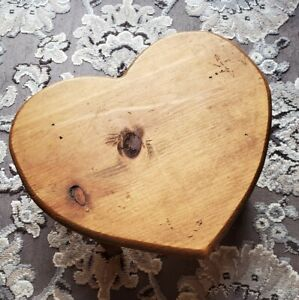 "Vintage Wooden Heart Shaped Foot Step Stool 12"" x 6"""