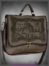 Steampunk Tasche Satchel Bag Landkarte braun Gothic Viktorianisch Veggie-Leder
