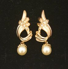 Noble Jewel 16K Gold Plated Pearl CZ Set Earrings