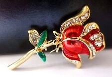 Rose Flower Brooch gold tone red enamel crystal diamante pin gift vintage style