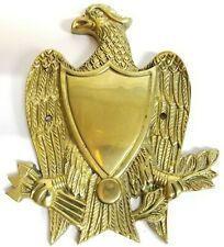 Brass Eagle Shield Crest Door Plate Knocker Arrows Branches Textured Leaves Vtg