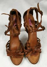Jones Bootmaker Women Leather Cone High Heel Strappy Shoes Size 7 EU 40 Used VGC