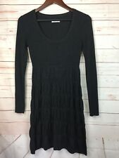 Calvin Klein Sweater Dress Ribbed Tiered Charcoal Gray Long Sleeve Size XS EUC!