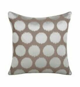 New Iosis Yves Delorme Pois Brown Silver Embroidery Dots Cushion Pillow Cover