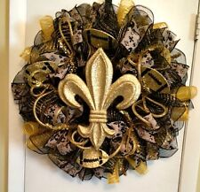 Saints Black & Gold Deco Mesh Wreath - Handmade