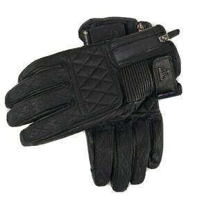 Triumph Leather Motorcycle Gloves Raven GTX Retro Black Gore Tex Size XL