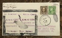ZRS-4 USS AKRON DISASTER: COMMEMORATIVE COVER w/WOOD BLOCK CACHET APRIL 4,1934